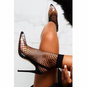 Clear Perspex Fishnet Heels in Black